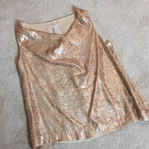 J Crew rose and gold metallic top